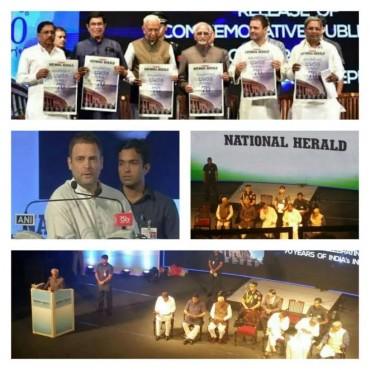 Rahul Gandhi, Hamid Ansari,Vajubhai Vala,launch commemorative edition of Congress National Herald.