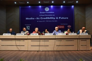 "Sushma Singhvi, Founder of  Gunjan Foundation hosted panel discussion ""Media Its Credibility and Future"""