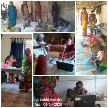 SHG women working as Business Correspondents for banks (BC Sakhis) and Bank Sakhis playing a vital role in disbursement of first tranch of ex-gratia of Rs.500/- to women PMJDY accounts amidst COVID-19 Lockdown