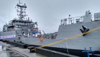 Commissioning of Seventh Ship of Landing Craft Utility MK-IV 'INLCU L57' (GRSE Yard 2098) at Port Blair – 15 May 2020