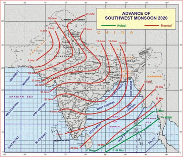 Conditions are favourable for further advance of Southwest Monsoon