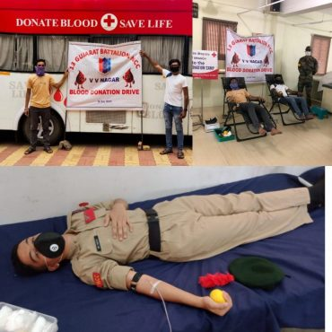 BLOOD DONATION CAMPAIGN BY NCC DIRECTORATE GUJARAT DURING TESTING TIME OF COVID-19 PANDEMIC