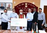 Fortis Healthcare hands over cheque of Rs 2.5 crore to ICMR from CSR fund in the presence of MoS Health and Family Welfare Shri Ashwini Kumar Choubey
