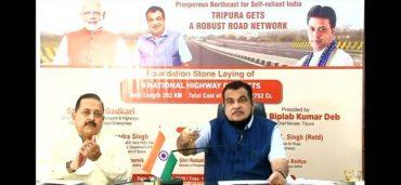 Gadkari lays Foundation Stones of 9 NH projects in Tripura