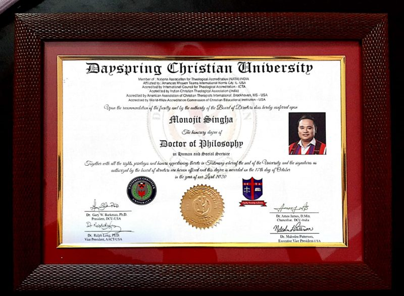 Monojit Singha conferred with honorary Doctorate degree from Dayspring Christian University