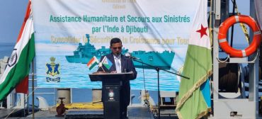 Mission Sagar – II Handing Over Food AID to Djibouti by INS Airavat