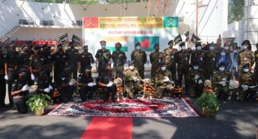 INDIAN ARMY HANDS OVER 20 FULLY TRAINED MILITARY HORSES AND 10 MINE DETECTION DOGS TO BANGLADESH ARMY