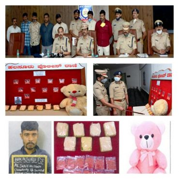 Drugs worth Rs.28 Lakhs concealed in Teddy bears seized by Halasuru police,Cab Driver Arrested: