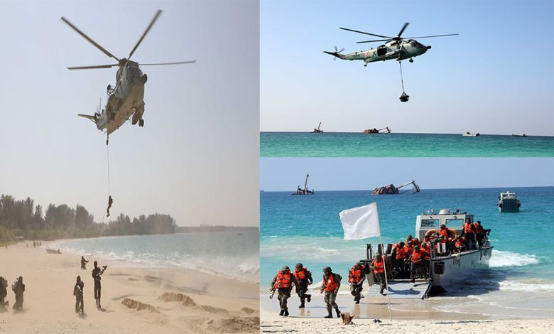 Ministry of Defence Indian Navy conducts Joint Exercise with Army and Air Force