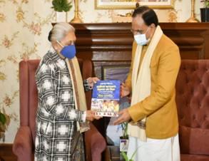 Governor of Uttar Pradesh Smt. Anandiben Patel calls on Union Education Minister Shri Ramesh Pokhriyal 'Nishank'