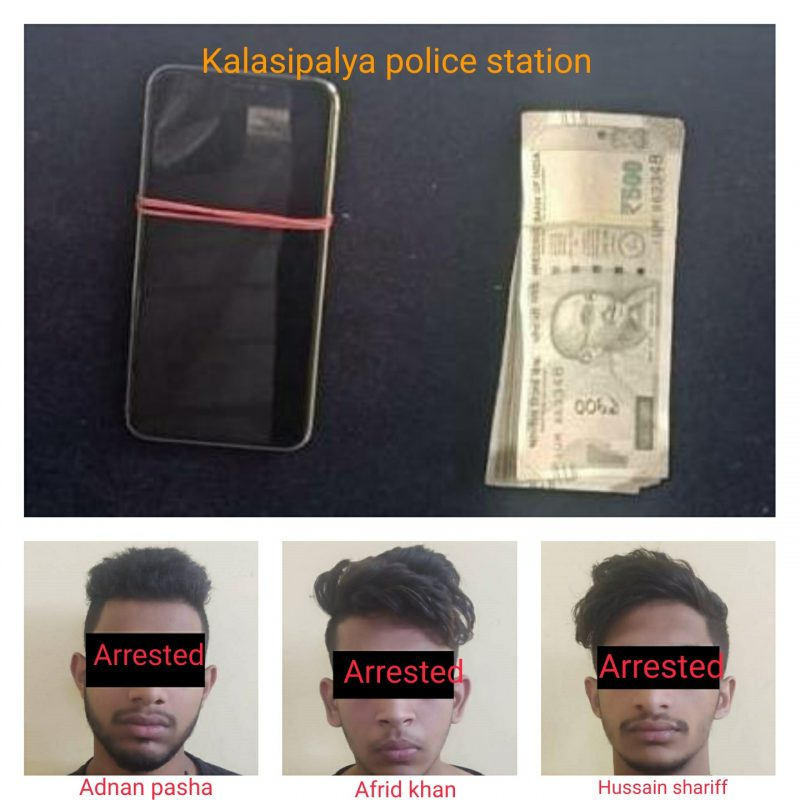 Kalasipalya Police arrest three students for abducting and robbing mobile phone .