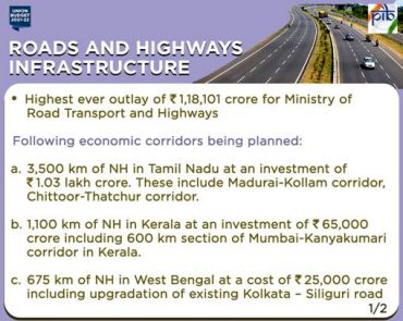 1,18,101 crore outlay for Ministry of Road and Transport and Highways