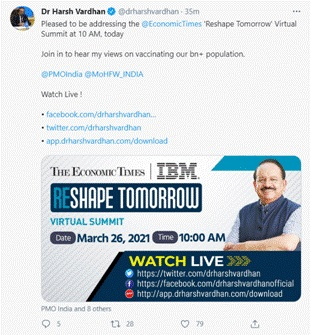 Dr Harsh Vardhan delivers Keynote Address on The Economic Times's 'Reshape Tomorrow Summit'