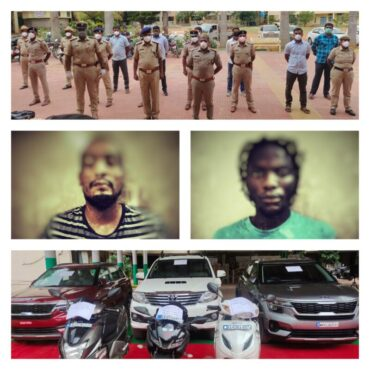 Two Nigerian National arrested,3 SUVs,2 bikes,Worth Rs.65 Lakhs Recovered by Yelahanka police