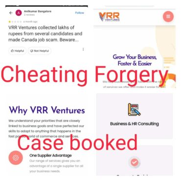 VRR Ventures consultancy Directors arrested for duping people promising IT jobs in Canada