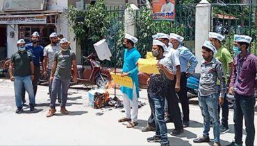 आम आदमी पार्टी अल्मोड़ा द्वारा उत्तराखंड की जनता को भीखमंगा कहने पर भाजपा का पुतला दहन किया गया