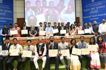 Union Minister of Youth Affairs and Sports Shri Anurag Singh Thakur confers the National Youth Awards 2017-18 and 2018-19 to 22 awardees on International Youth Day today