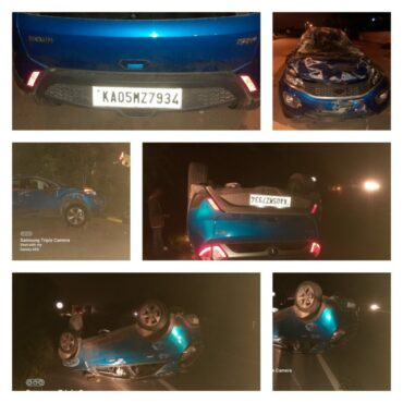 Car topples on nice road,four persons escaped