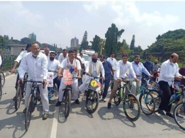 Congress leaders hold cycle rally protesting against Central government over fuel price hike