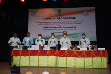 Ayush Minister Sarbananda Sonowal launches a campaign for distribution of prophylactic medicines at National Institute of Ayurveda, Jaipur