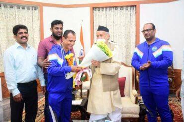 WAKO INDIA Kickboxing players were greeted and cheered up by Maharashtra Governor Bhagat Singh Koshya.